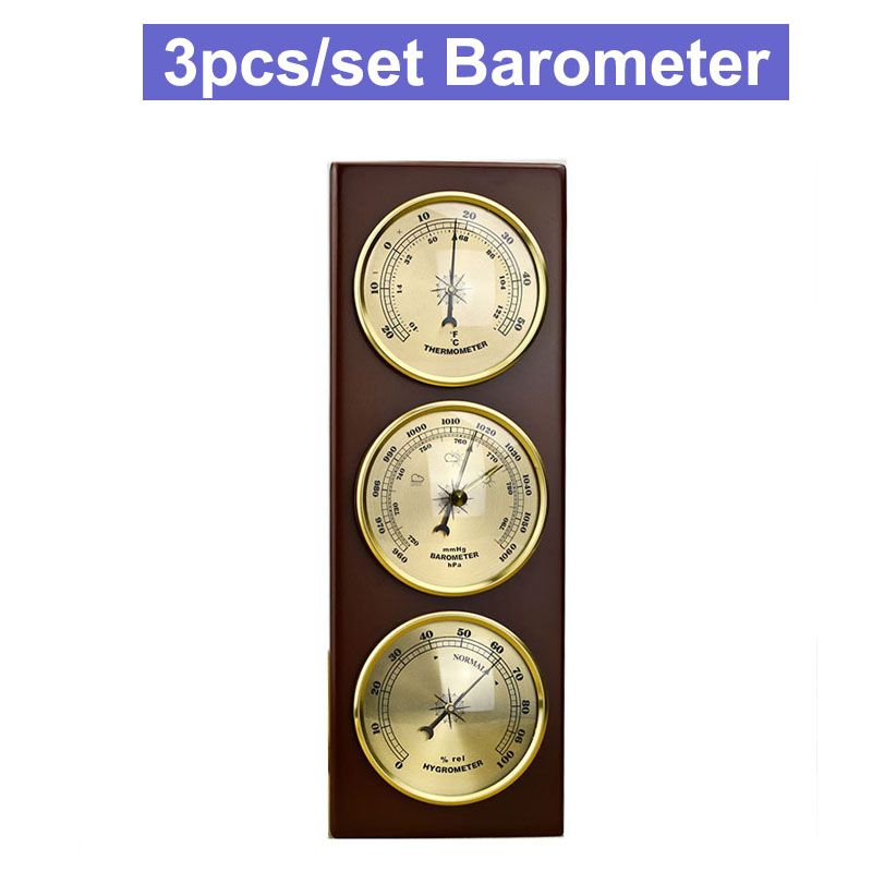 3Pcs Set Hygrometer Manometer Thermometer Barometer With Wooden Frame Base Gift Ornaments Weather Station Instrument