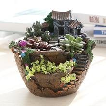 Resin Flower Pot Succulents Micro Landscape Plant Decor Hanging Garden Flowers pots Succulents Plants House Bonsai Garden Pots