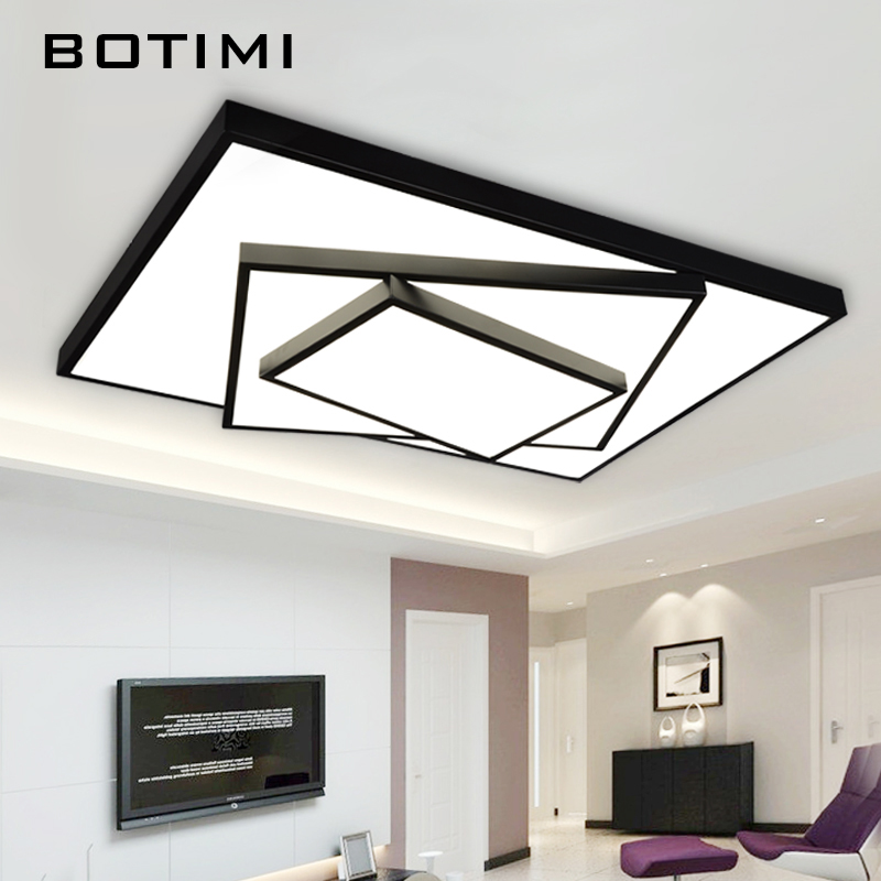 BOTIMI Square Rectangal LED Ceiling Light Metal Black Lights lamparas de techo Creative Iron Lamp For Living Room Kicthen Dining noosion modern led ceiling lamp for bedroom room black and white color with crystal plafon techo iluminacion lustre de plafond