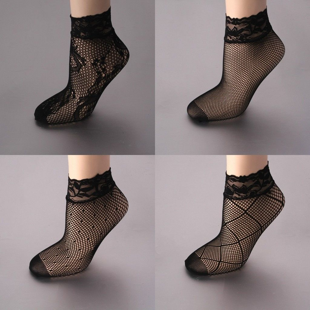 ITFABS Newest Arrivals Fashion Hot New Sexy Women Lady Girls Fishnet Ankle High Casual Socks Short  Mesh Lace Floral Fish Net