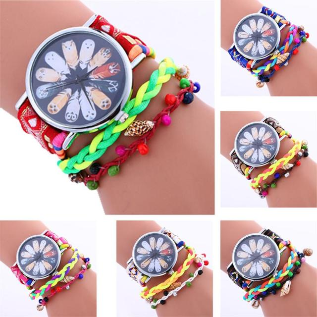 Fashion Women Black Flower Analog Alloy Quartz Wrist Watch bracelet watches for