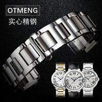 Otmeng For Cartier Ballon Bleu Stainless Steel Watch Strap Fit Cartier Watchband Stainless Steel Strap Men