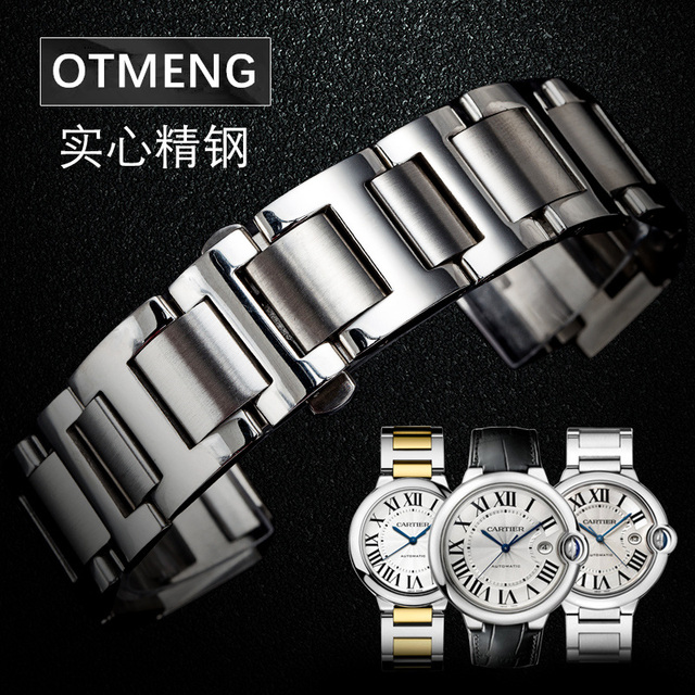 82b36e04f41 Otmeng para Cartier Cartier Ballon Bleu de Relógio de aço Inoxidável strap  fit pulseira pulseira das