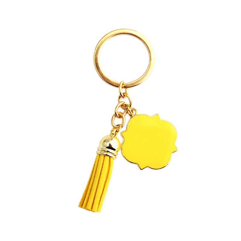 ZWPON personlig læder kvast nøglekæde monogram blank emalje skive nøglekæde til kvindesmykker engros
