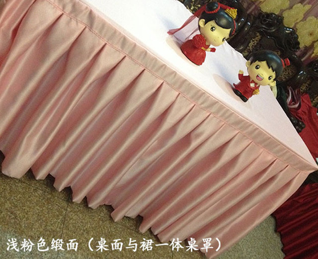 Satin Table Skirt Part - 16: Quality thick satin face fabric table skirting wedding table skirt home table  skirting