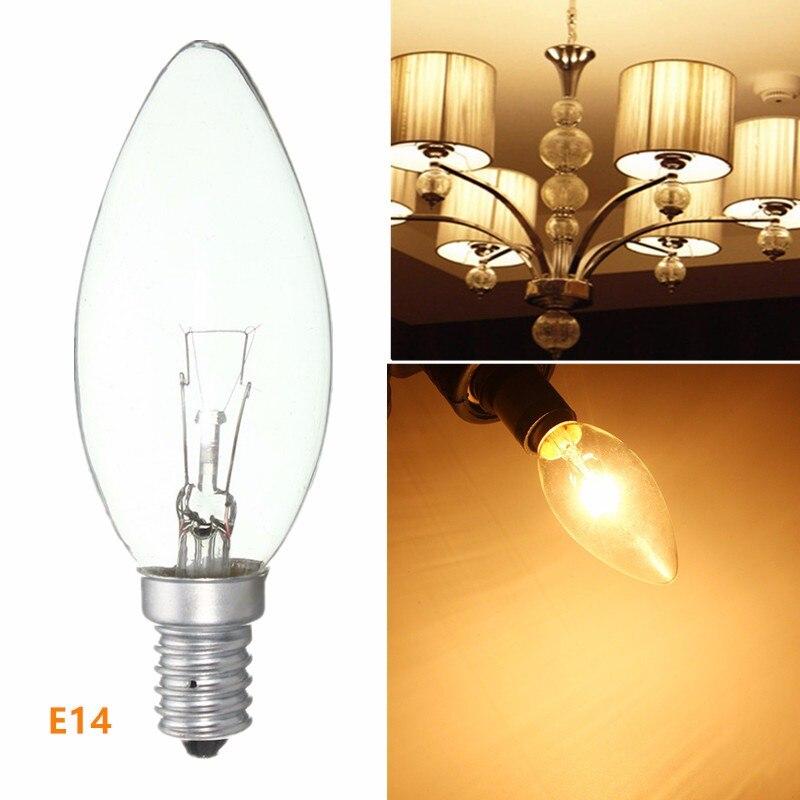 Nueva lámpara incandescente bombilla E14 25 W/40 W/60 W nevera vela luz ahorro de energía lámpara blanco cálido AC220-230V