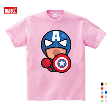 Fashion Captain America Distressed Shield Logo Cotton T-Shirts Boy Girls Cartoon Printing T-shirt Gifts for Childrens Birthday
