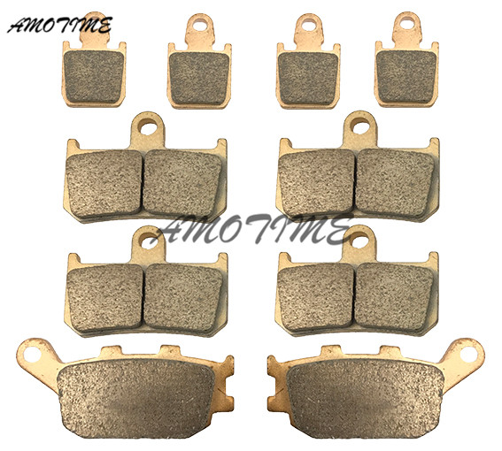 Motorcycle Parts Copper Based Sintered Motor Front & Rear Brake Pads For Yamaha YZF R1 2007-2014 08 09 10 11 12 13