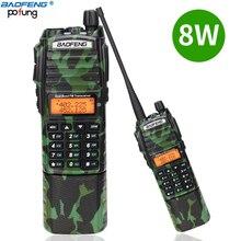 Baofeng UV 82 camo Walkie Talkie 8 Watt mạnh mẽ UHF VHF Băng TẦN Kép 3800 mAh 10 KM Dài Phạm Vi UV 82 cho săn bắn đi bộ đường dài Hai Cách Phát Thanh