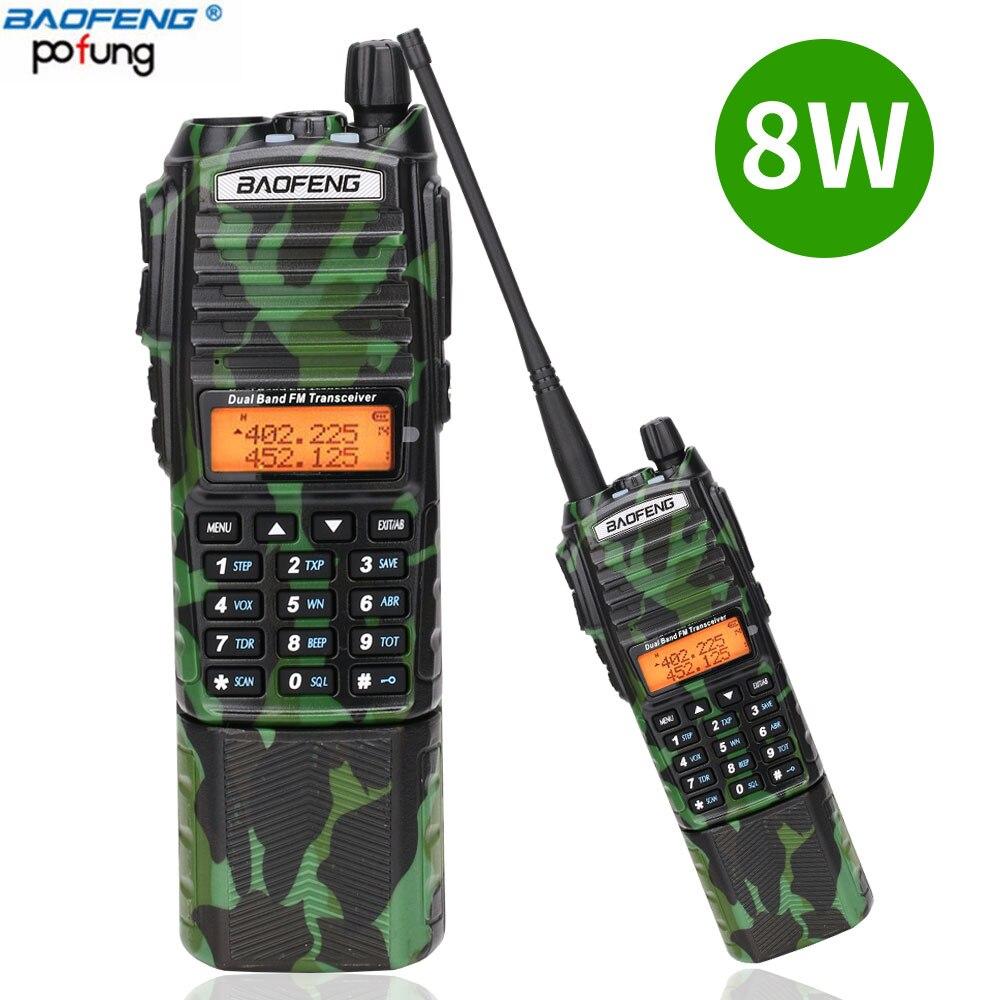 Baofeng UV 82 camo Walkie Talkie 8Watt powerful UHF VHF Dual Band  3800mAh 10KM Long Range UV 82 for hunting hiking Two Way RadioWalkie  Talkie