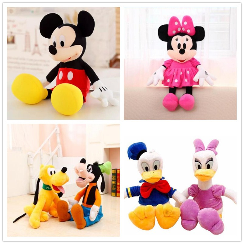 6pcs/set 28cm Mickey and Minnie Mouse,Donald duck and daisy,GOOFy dog,Pluto dog,Plush Toys Funny Toy For Kid Christmas Gift free shipping 8cm doll shoes zapf baby doll mini toy shoes for dolls leather shoes