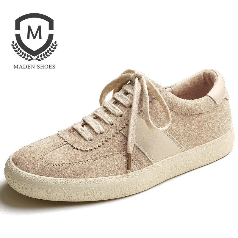 Maden Vache Split Suede Hommes Sportif Sneaker Sable Kaki Brun Tous-correspondant Chaussures de Sport Coréen de Hong Kong Anti-slip patchwork Bas-haut