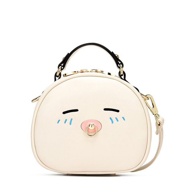 Cute Girls Crossbody Bag Fashion Round Messenger Bags 2017 New Mini Sweet White Shoulder Bag Brand Designer Lolita Bag XA73H