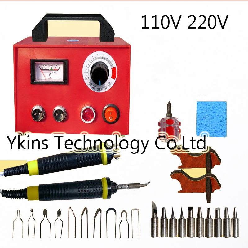 100W Professional Pyrography toolkit Multifunction Pyrography machine+10 pcs Pyrography Tips +10pcs solder tips+2pcs cutter pen qimage new winter autumn winter warm parkas women fashion silm long jacket coat fur collar lady cotton padded coat warm outwear