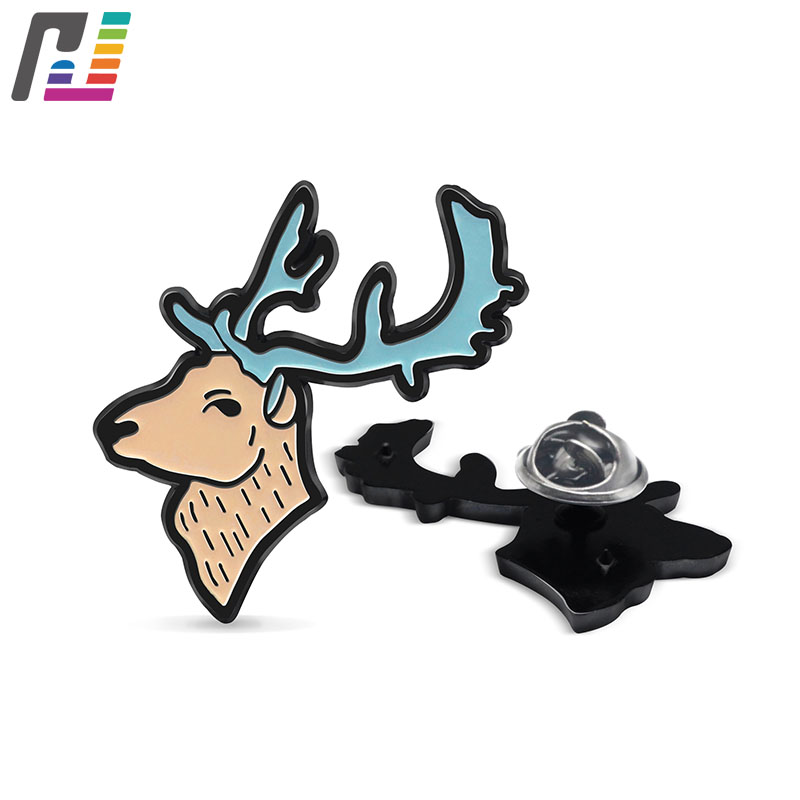 Customized Animal Lapel Pin Oh Deer Pin Black Dyed Soft Enamel Brooch Pin Badge With Metal Butterfly Clutch