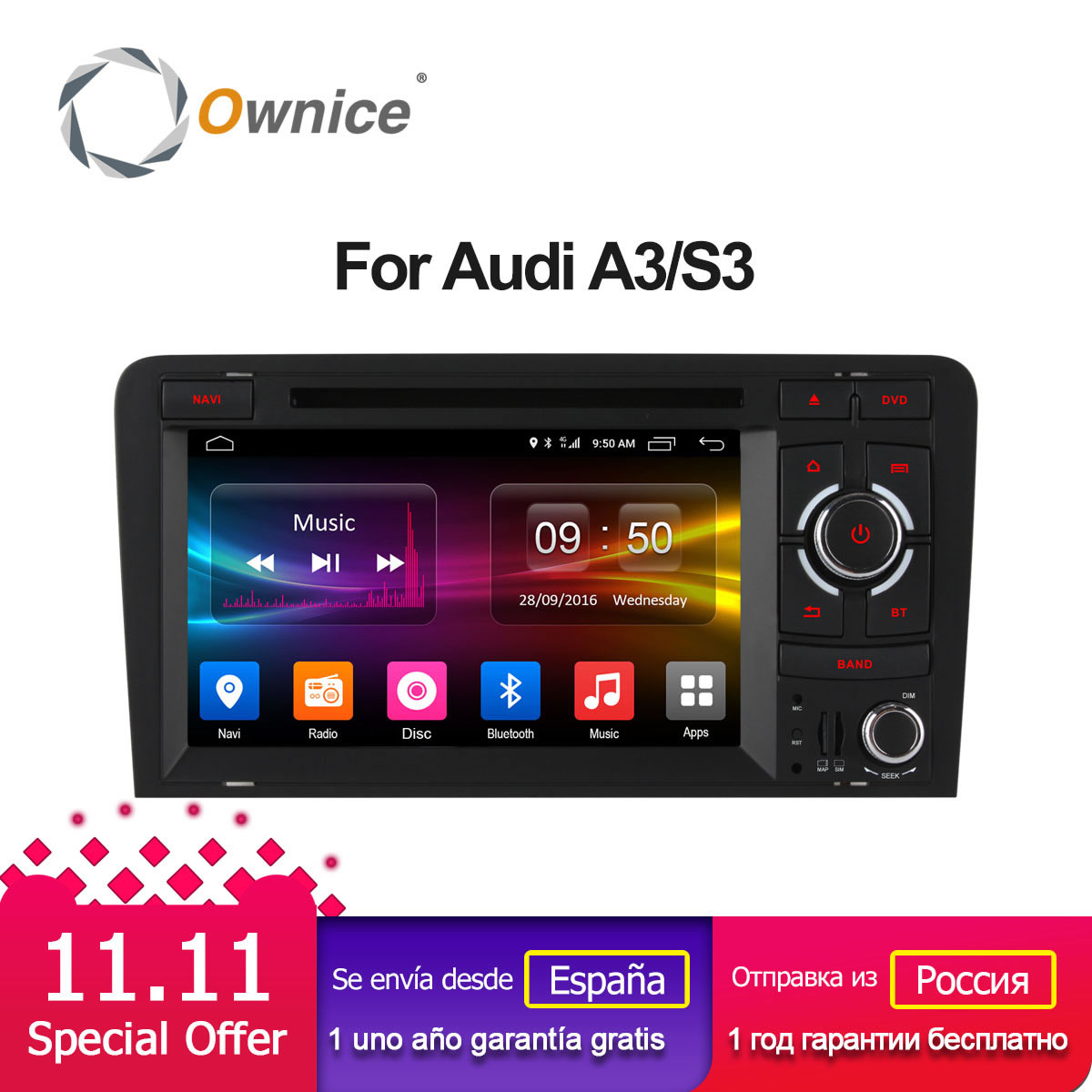 Ownice C500 4G SIM LTE Android 6.0 2 Din 7 Car DVD Player For Audi A3 S3 2002 2011 Radio GPS Navi BT 2GB RAM 16GB ROM Quad Core