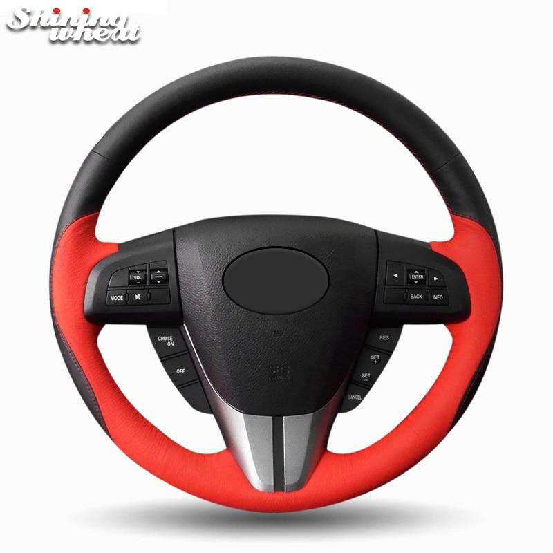 BANNIS Black Red Leather Car Steering Wheel Cover for Mazda 3 Axela 2008-2013 Mazda 5 2011-2013 Mazda CX-7 CX7 2010-16 tomefon new wood grain steering wheel interior accessories for mazda 3 mazda 6 cx 5 cx 9 cx9 2017 2018 car interior styling