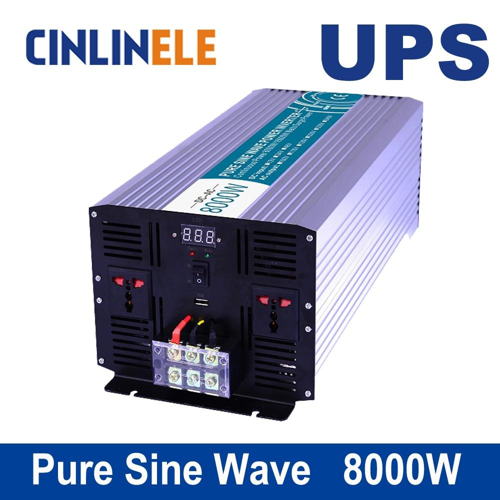 Universal inverter UPS+Charger 8000W CLP8000A Pure Sine Wave Inverter DC 12V 24V 48V to AC 110V 220V 8000w Surge Power 16000W