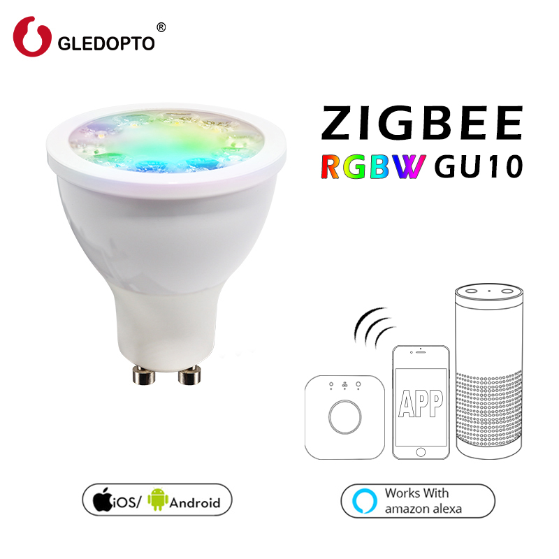 Rgb gu10 spot light, rgbw rgb cct gu10 spotlight zigbee zll 5 w AC100-240V led APP contrôleur travail avec Amazon Echo plus led