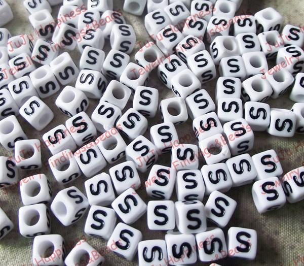 100Pcs/Lot Acrylic Single Alphabet /Letter S Cube Beads,DIY Loose Beads 6x6mm 74