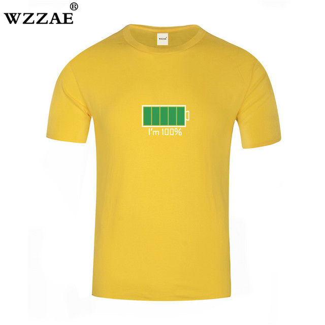 WZZAE 2018 Full Battery Android Creative Men T-shirts Energy Cotton Tee shirt Homme Classic Blouse Fitness Clothes Men's T shirt 1
