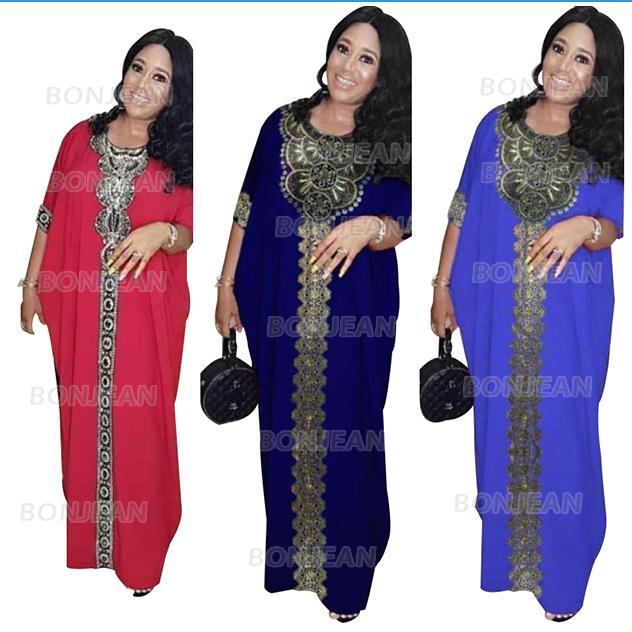 African Dresses For Women Africa Clothing AFrican Design Bazin Chiffon Long Stick Diamond SLeeve Dashiki Dress Lady