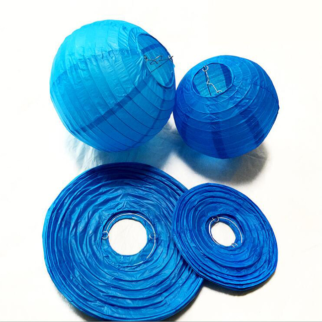 10 Pcs Lot 6 8 12 14 16 Blue Chinese Paper Lanterns Round Ball Lamps Lampion Wedding Party Decoration Supplies