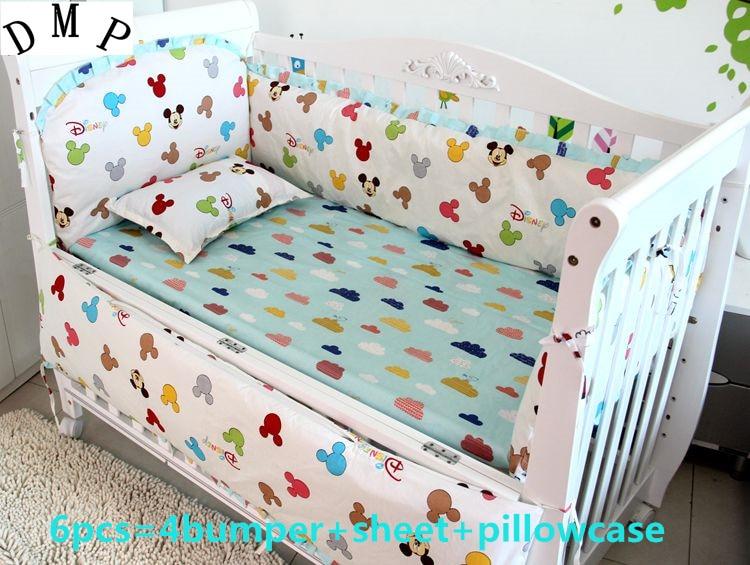 Promotion! 6pcs cartoon Cotton Baby Bedding Set Cartoon Crib Bedding Set for Girls ,(bumper+sheet+pillow cover)