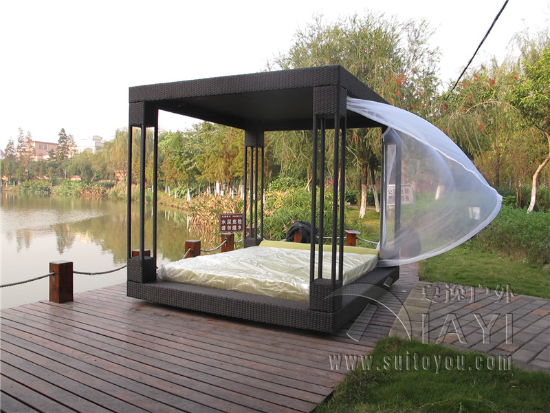 Most Popular Outdoor Furniture Rattan Daybed With Canopy Sun Bed Lounge  Rattan Bed Wicker Cabana No Curtain Transport By Sea