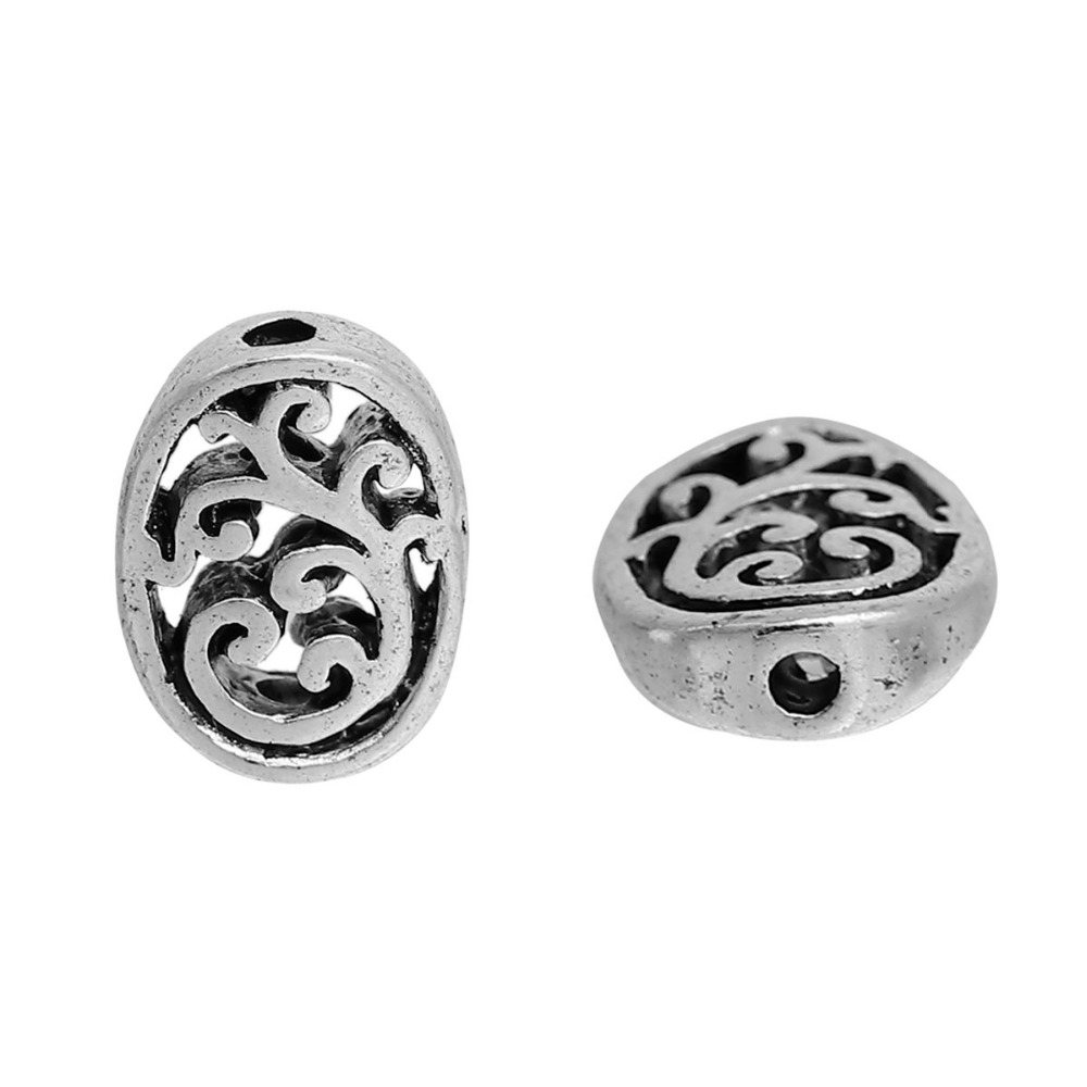 Doreenbeds Zinc Based Alloy Spacer Beads Oval Antique Silver Filigree Diy Beads 13mm X 10mm Hole: Approx 1.7mm 10 Pcs To Win A High Admiration And Is Widely Trusted At Home And Abroad. 3/8