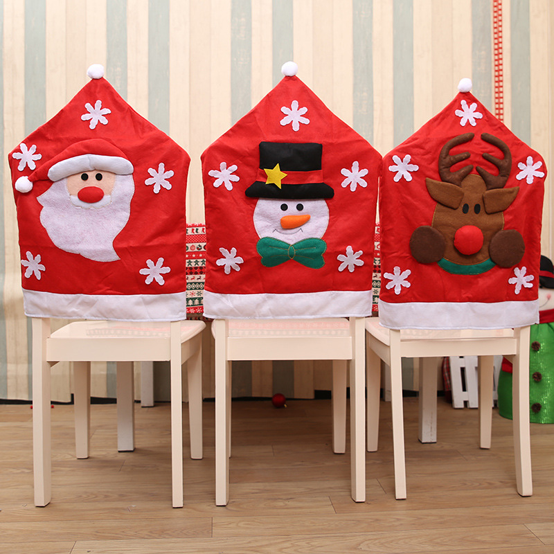 3 Pcs Lot New Santa Claus Snowman Elk Embroidery Chair Cover Christmas Dinner Table Party Red Back Covers Xmas Decoration