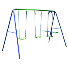 HLC Outdoor Childrens Folding Swing Set with 2 Baby Swing & Seesaw, Best Birthday Gift
