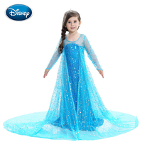 Disney Dress Summer Girl Ice Cold Short Sleeve Dress Female Aisha Shining Crystal Children's Princess Dress