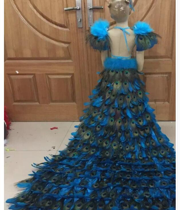 Limited New Luxury Big Pendulum Peacock Feather Dress Children's Day Girls Catwalk Colourful Trailing Clothing Children