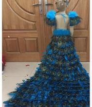 Limited новый роскошный большой маятник перо павлина платье День защиты детей девочек Подиум красочные шлейфом детская одежда