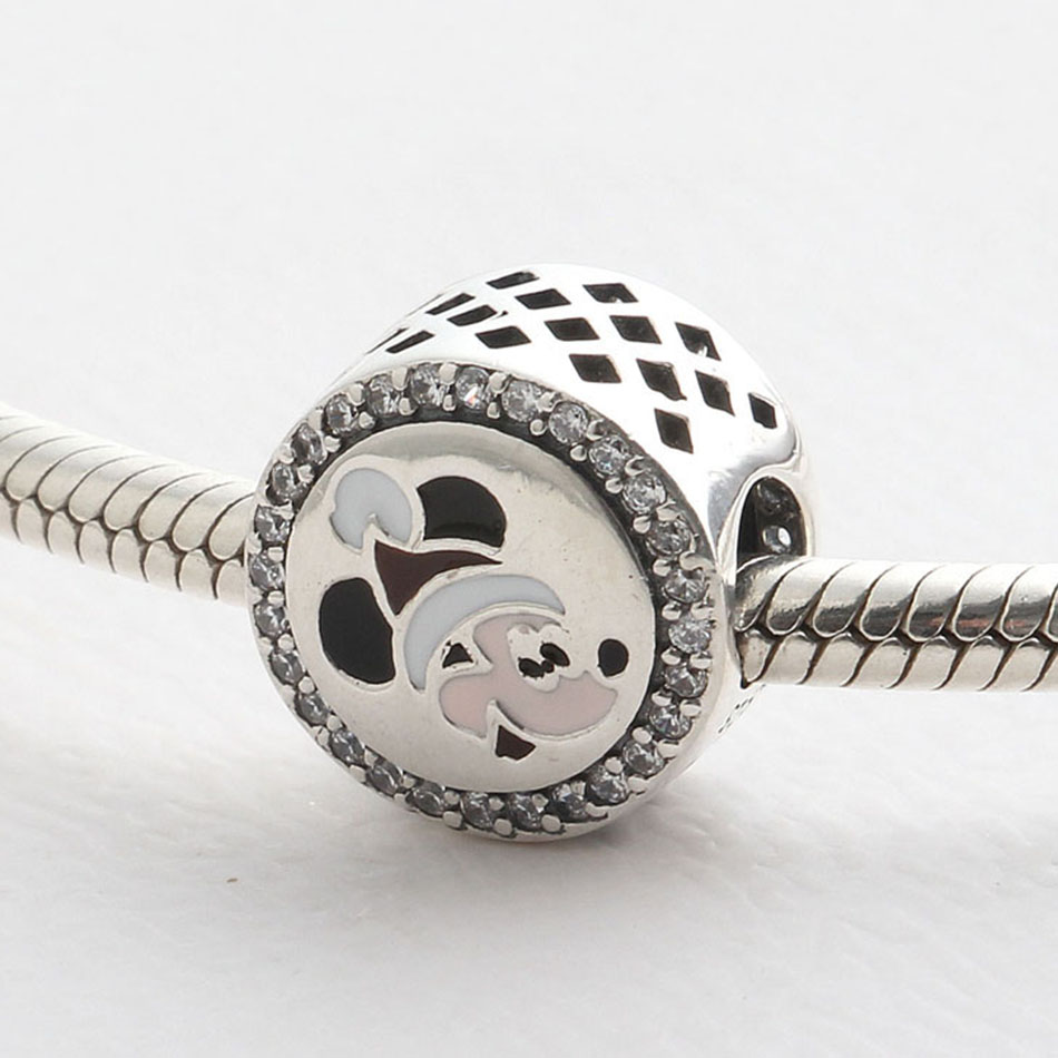 Authentic 925 Sterling Silver Openwork Mixed Enamel Mickey With Crystal Beads Fit Pandora Bracelet Bangle For Women DIY Jewelry