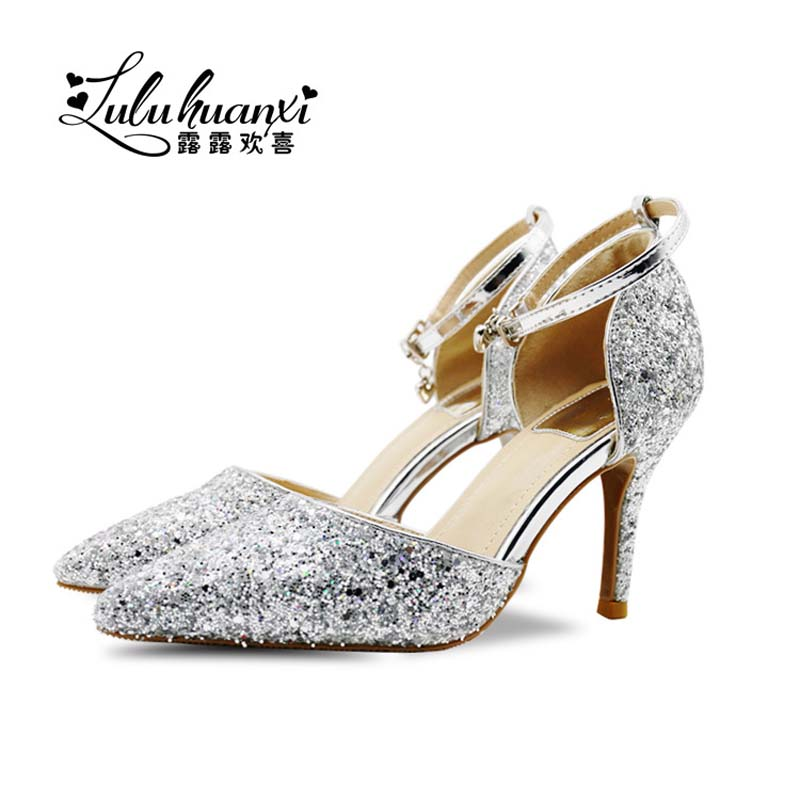women pumps wedding shoes lady crystal platforms silver shoes thin heel party pump elegant woman high