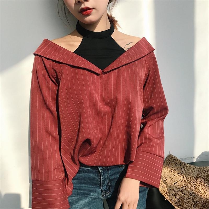2017 Spring Korean Ulzzang Fake two pieces long sleeve