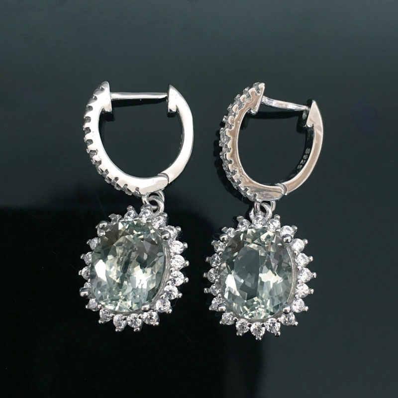6f3b61e87 ... CSJ Real 6ct Natural Green Amethyst Drop Clasp Earrings 925 Sterling  Silver Fine Jewelry Women Lady ...