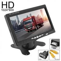 7 Inch 16:9 HD 1024x600 LCD Color Car Rear View Monitor 2 Video Input Auto DVD VCD Headrest Vehicle Monitor Support HDMI VGA