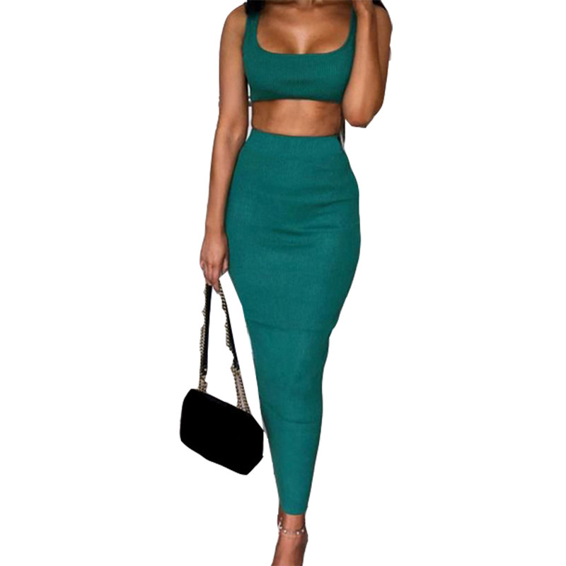 DORVIVON Two Piece Set 2 Piece Set Women Winter Crop Top And Bodycon Skirt Set Matching Sets Woman Two Pieces Stretch Outfits