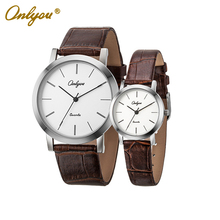 Onlyou Brand Lovers Watch Fashion Casual Women's Men's Leather Watch Wristwatches Rose Gold Black Male Female Watch 8869