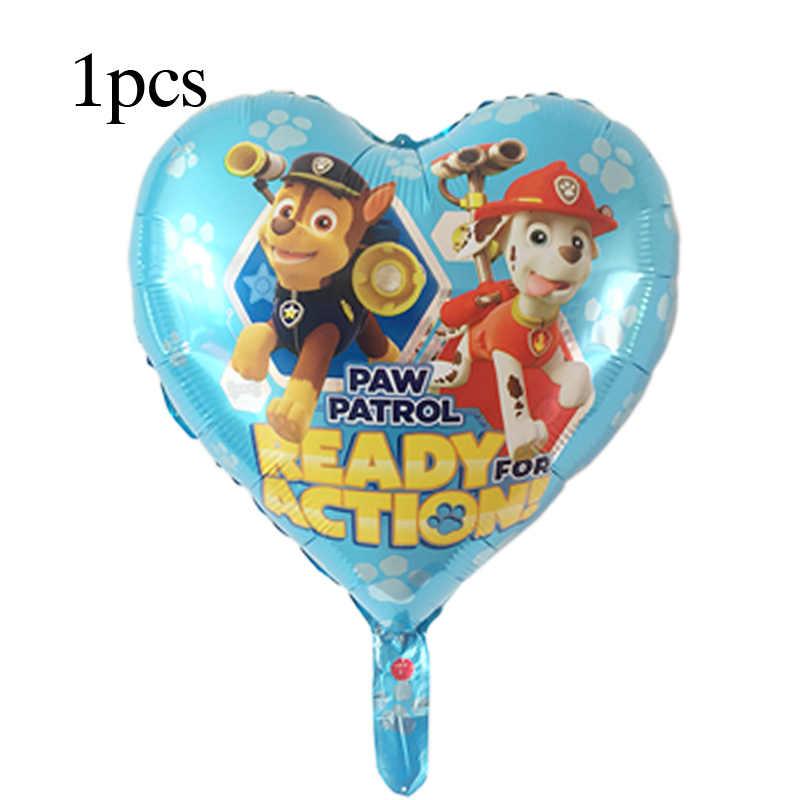 1pcs Paw Patrol การ์ตูนสุนัขฟอยล์บอลลูนมือถือ Globos Decor วันเกิดของเล่นเด็ก Chase Marshall Sky Ryder บอลลูน