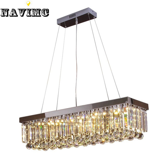Modern luxury lustre rectangular crystal chandelier for dining modern luxury lustre rectangular crystal chandelier for dining room lamp bedroom foyer lighting fixture led bulbs mozeypictures Images