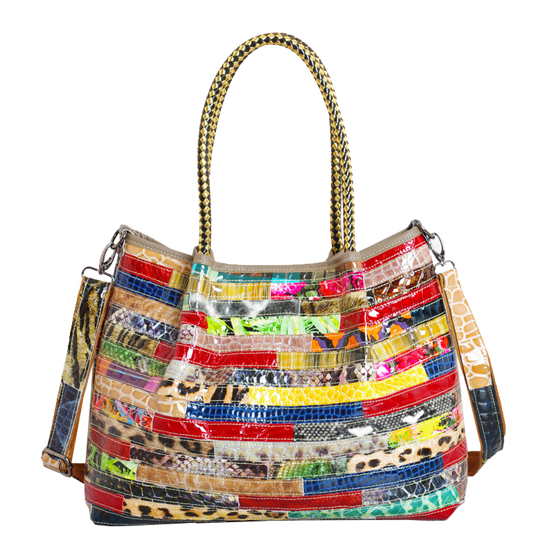Fashionable new leather bag of leather and leather snake with color stripe splicing single shoulder bag fashionable women s shoulder bag with candy color and engraving design