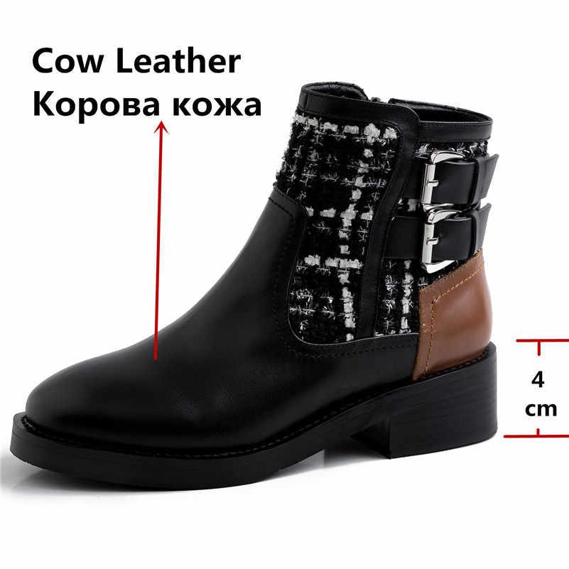 FEDONAS חורף עור אמיתי באיכות נשים קרסול מגפי בוהן עגול עקבים גבוהים רוכסן אבזם קצר מגפי מסיבת בסיסי נעלי אישה