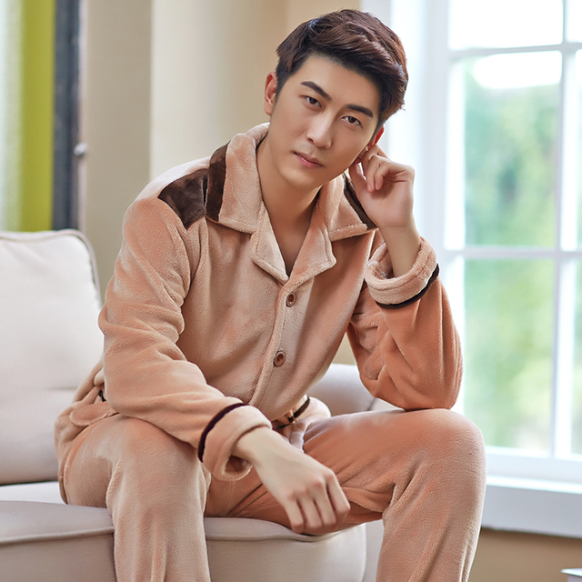 2015 winter male flannel sleepwear autumn coral fleece sleepwear male long-sleeve lounge set Men thickening