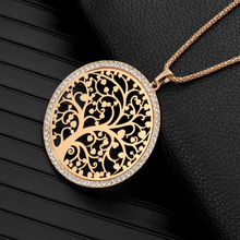 ФОТО fashion tree of life pendant necklace women elegant jewelry long chain crystal gold plated long necklaces & pendants xl04949