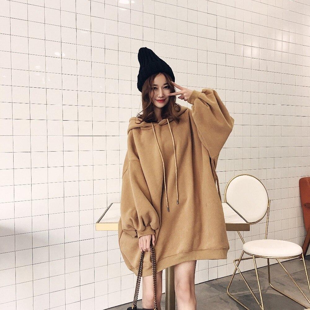 TECHOME Early Spring Women Oversize Boyfriend Style Hoodies Sweatshirts Loose Plus Size Lantern Sleeve Long Hoodies Overcoats