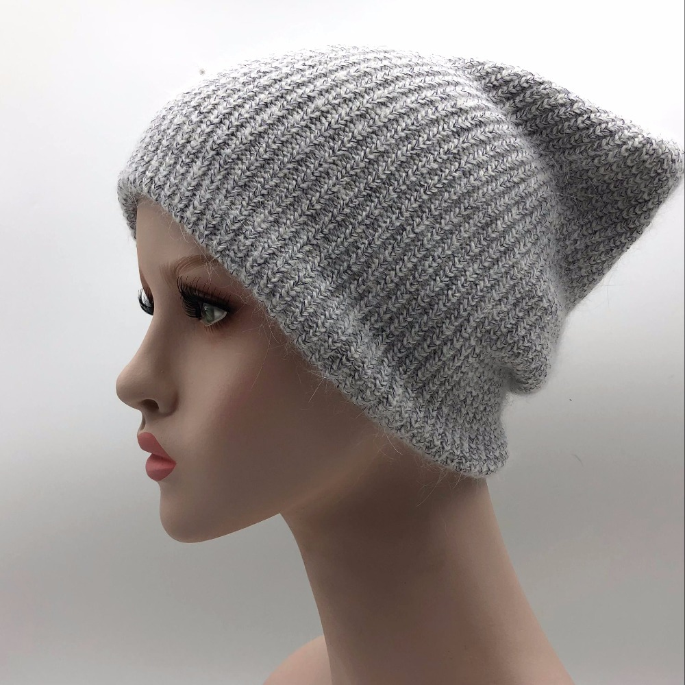 Winter Rabbit Cashmere Knitted Hat Women Double layer Thick Warm   Beanie     Skullies   hat Female double knitting caps Solid color